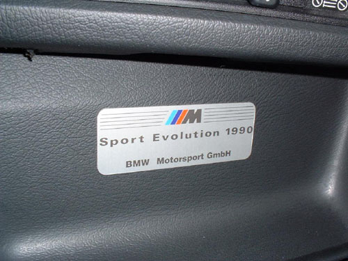 BMW e30 M3 EVO III Dash Plaque